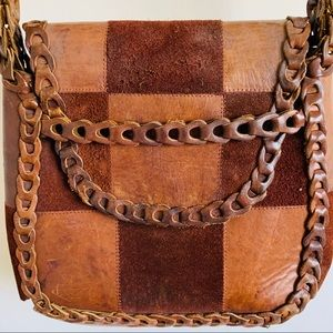 Vintage leather patchwork shouldr bag, woven strap